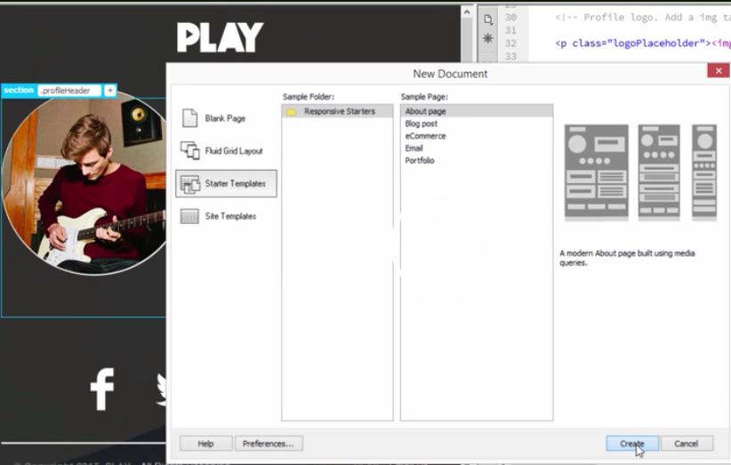 Dreamweaver Starter Templates